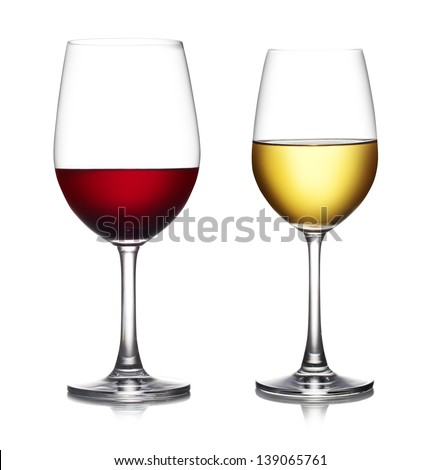 Glass of red wine isolated on a white background. The file includes a clipping path. - stock photo