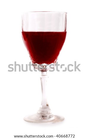Glass of red wine isolated on white - stock photo