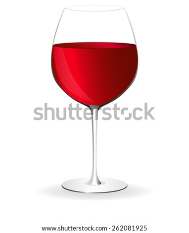 Glass of red wine isolated on white background. Raster version