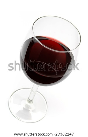 Glass of red wine. Isolated on white with clipping path. - stock photo