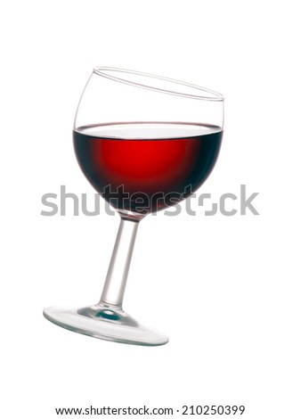 Glass of red wine isolated over white background. Angled. - stock photo
