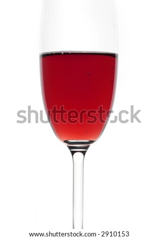 Glass of red wine. Isolated white. Close-up.