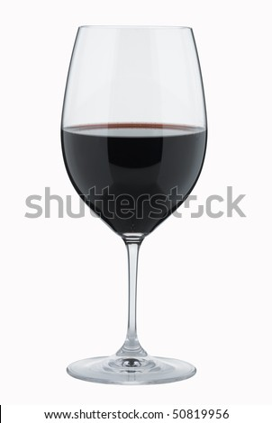 Glass of Red Wine,isolated with path - stock photo