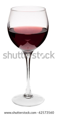 Glass of red wine on a white background and with soft shadow. - stock photo