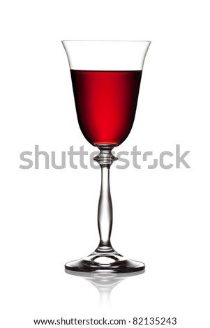 Glass of red wine on a white background. The file includes a clipping path. - stock photo