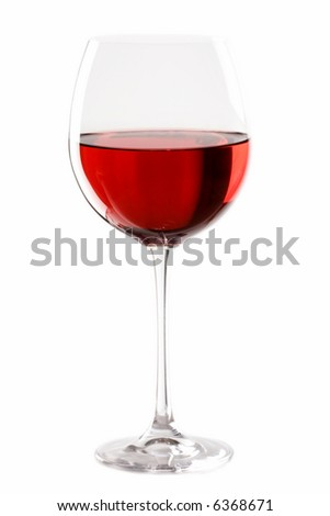 glass of red wine over white background