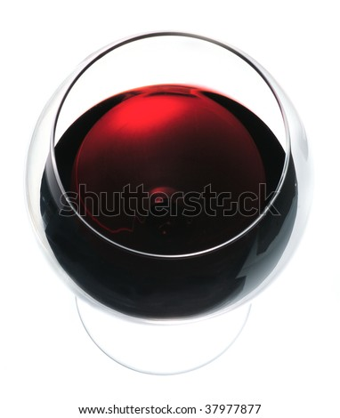 Glass of red wine view from above close-up isolated over white background - stock photo