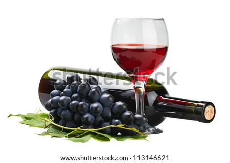 glass of red wine with bottle and grape over white