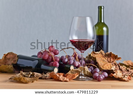 glass of red wine  with grapes and vine leaves