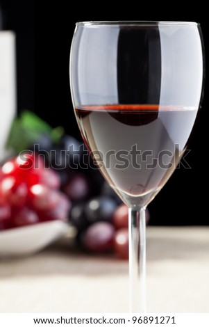 Glass of red wine with grapes in the background