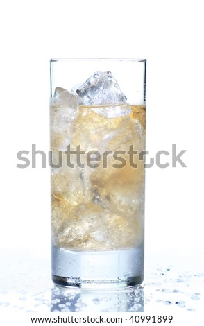 glass of refreshing cold giner ale, isolated on white - stock photo