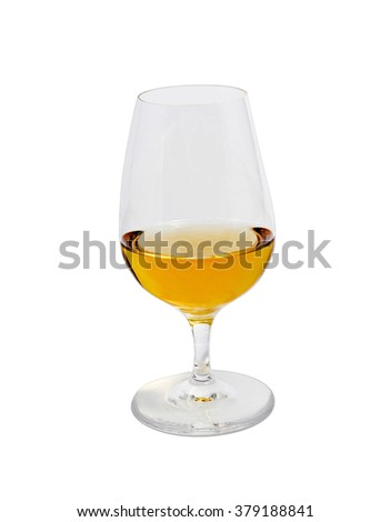 glass of scotch top view - stock photo