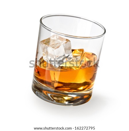 glass of scotch whiskey and ice on a white background - Scotch Glass