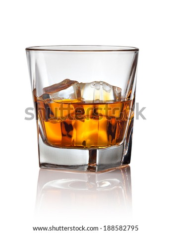 Glass of scotch whiskey and ice on a white background