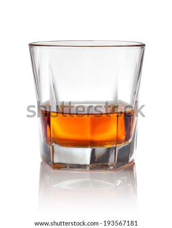 Glass of scotch whiskey on a white - stock photo