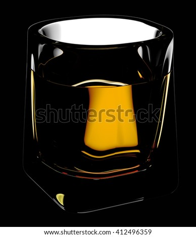 Glass of scotch whiskey with clipping path. Isolated on black background. 3D illustration - stock photo
