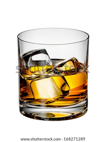 Glass of Scotch whiskey with ice on a white background