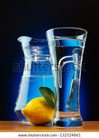 glass of soda water and lemon