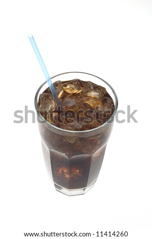 Glass of soda with a straw against white viewed from top - stock photo