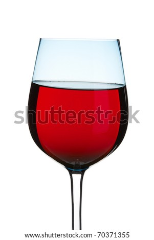 glass of sparkling red wine, isolated on white - stock photo