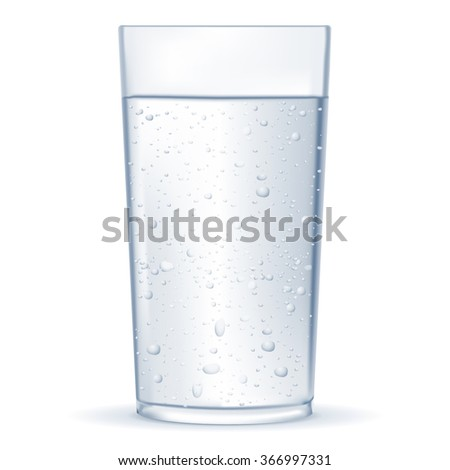 Glass of sparkling water.  Raster version. Illustration isolated on white background.