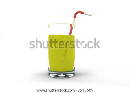 Glass of summer cocktail isolated on white background - stock photo
