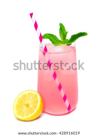 Glass of summer pink lemonade with mint and straw isolated on a white background