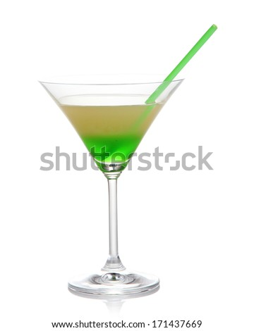 Glass of tasty cocktail isolated on white