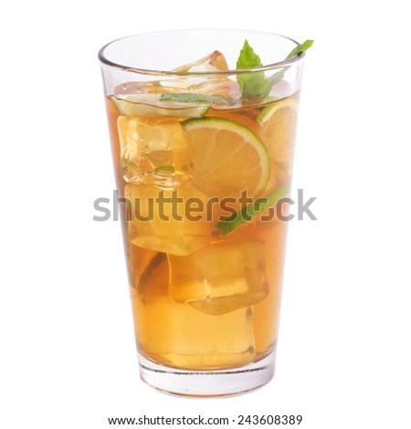 Glass of tea on a white background - stock photo
