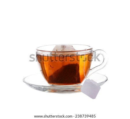 Glass of Tea with Bag End. Isolated on white background, with clipping path - stock photo