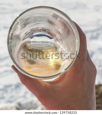 Glass of the fustrian beer - Zillertal, Mayrhofen, Austria - stock photo