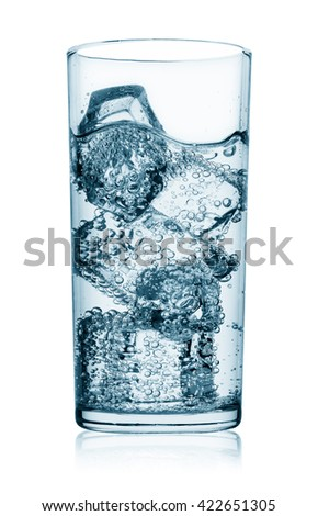 Glass of the water with ice isolated on white background