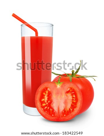 glass of tomato juice on white background