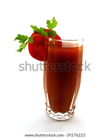 Glass of tomato juice with a segment of a tomato and parsley isolated on a white background - stock photo