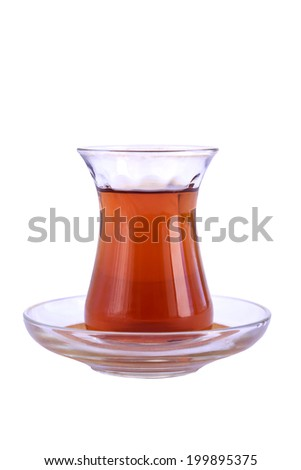 glass of Turkish tea isolated on white - stock photo