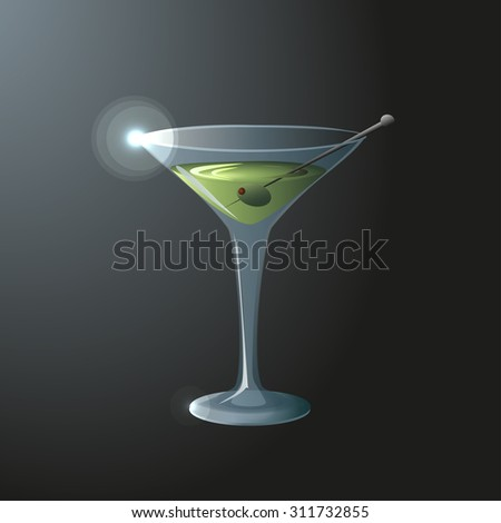Glass of vermouth with olive on a dark background