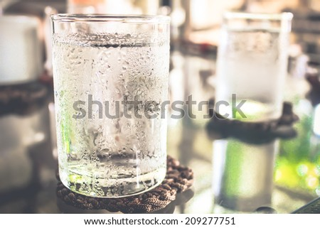 Glass of very cold water - stock photo