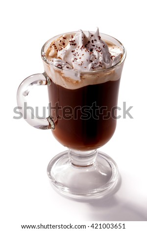 glass of Viennese coffee topped with whipped cream and chocolate chips close-up isolated on white background - stock photo