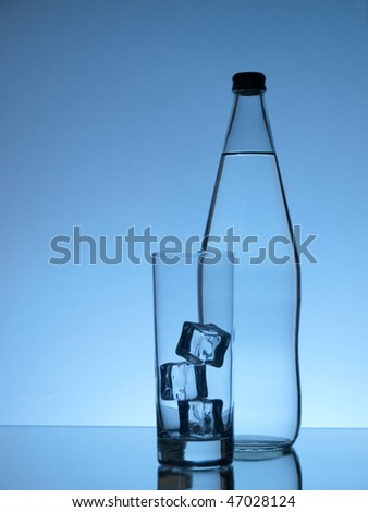 Glass of water and a bottle