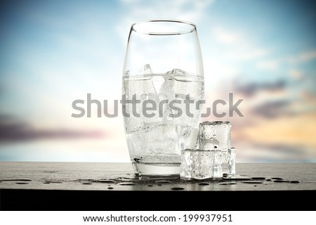glass of water and ice  - stock photo