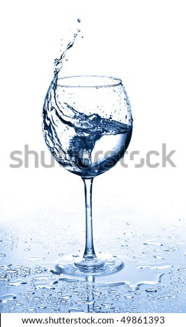 Glass of water and ice on a white background - stock photo