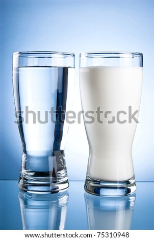Glass of water and milk on a blue background - stock photo