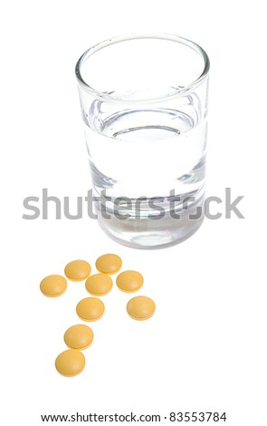 Glass of Water and Pills on white background