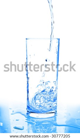 glass of water being poured on white