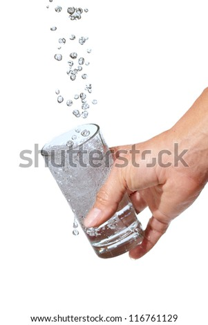 Glass of water isolated on white. - stock photo