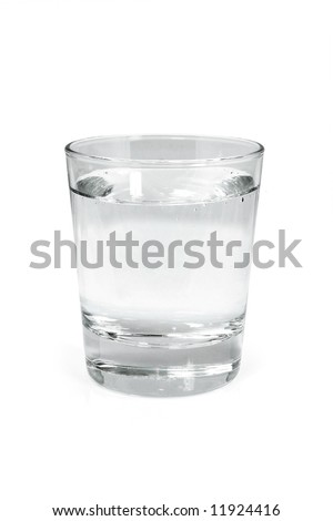 Glass of water isolated on white - stock photo