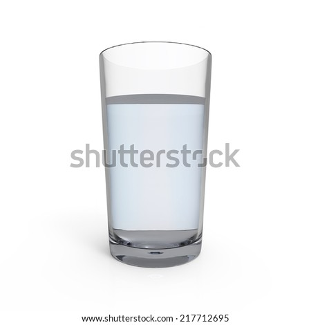 Glass of water isolated on white background. - stock photo