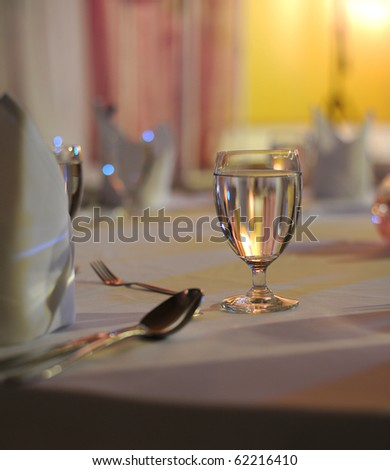 glass of water on banquet table - stock photo