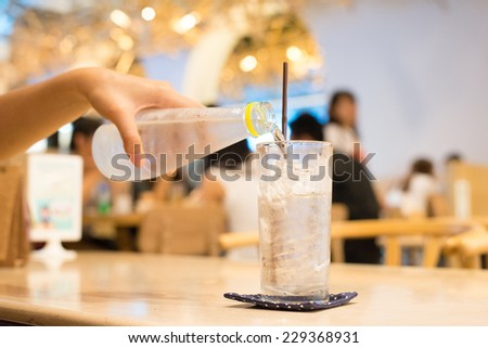glass of water on table in cafe