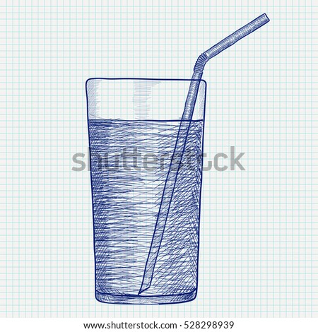 Glass Water Drinking Straw Hand Drawing Stock Vector